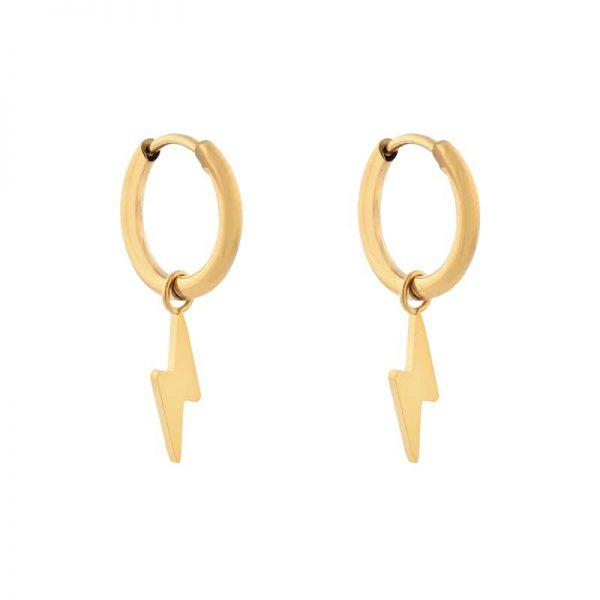Earrings minimalistic lightning gold