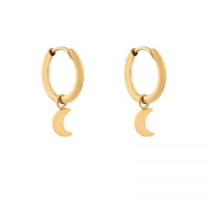 Earrings minimalistic moon small gold