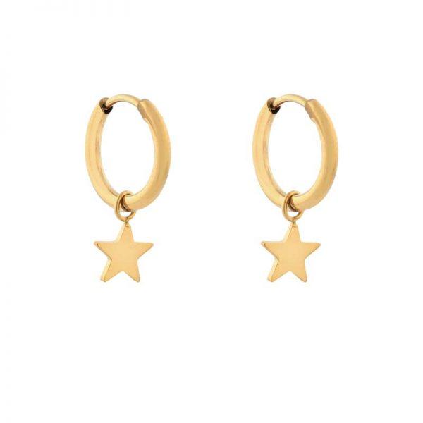 Earrings minimalistic star small gold