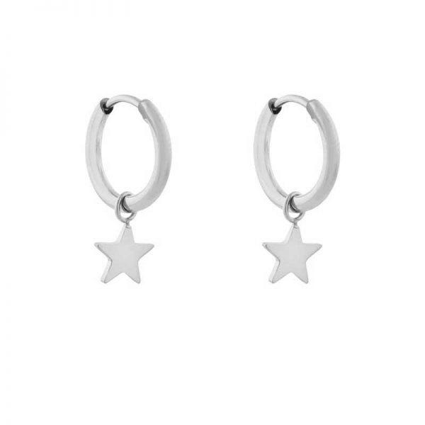 Earrings minimalistic star small silver