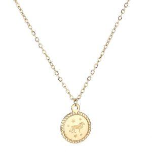 Necklace zodiac gold short