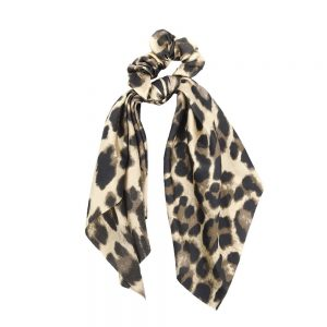Scrunchie ribbon leopard light brown