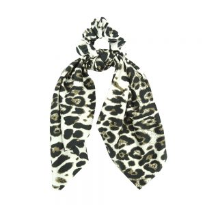 Scrunchie ribbon leopard white