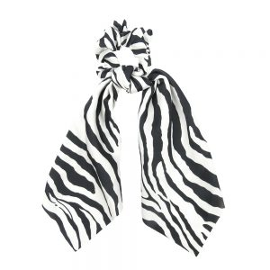 Scrunchie ribbon zebra white