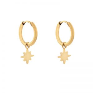 Earrings minimalistic Northstar small gold