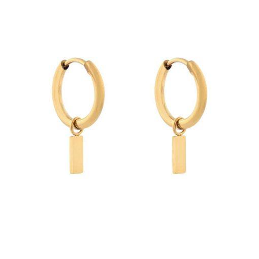 Earrings minimalistic bar small gold