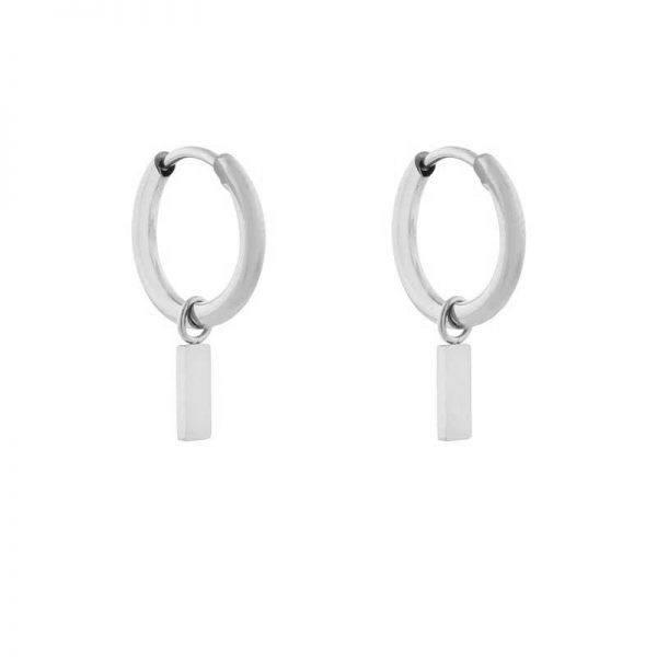 Earrings minimalistic bar small silver