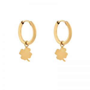 Earrings minimalistic clover gold