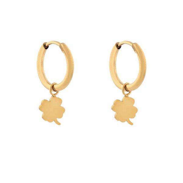 Earrings minimalistic clover gold