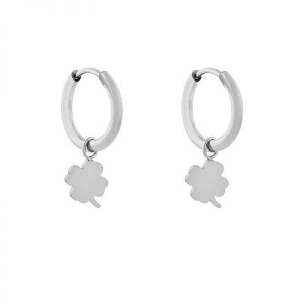 Earrings minimalistic clover silver