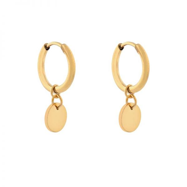 Earrings minimalistic coin gold