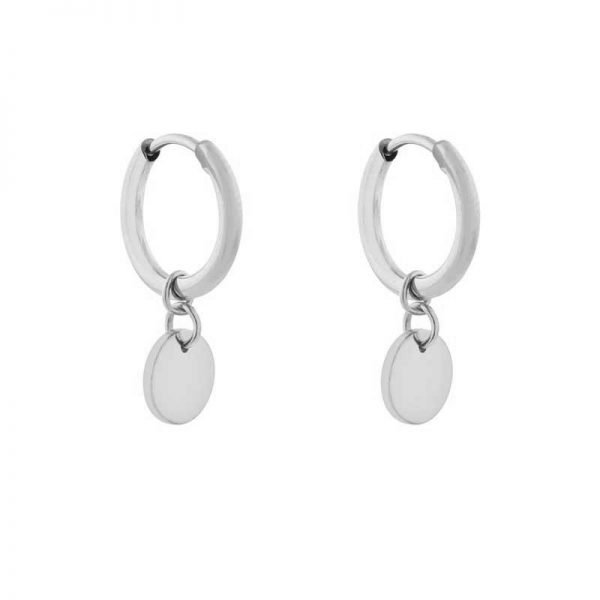 Earrings minimalistic coin silver
