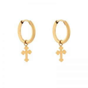 Earrings minimalistic cross gold
