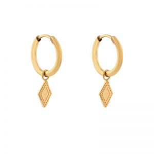 Earrings minimalistic diamond gold