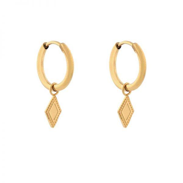 Earrings minimalistic diamond gold