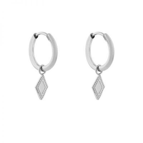 Earrings minimalistic diamond silver