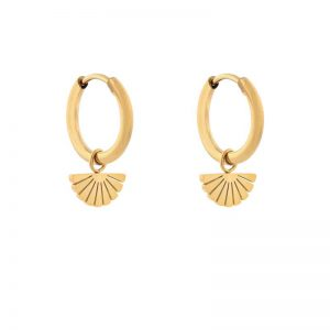 Earrings minimalistic fan gold
