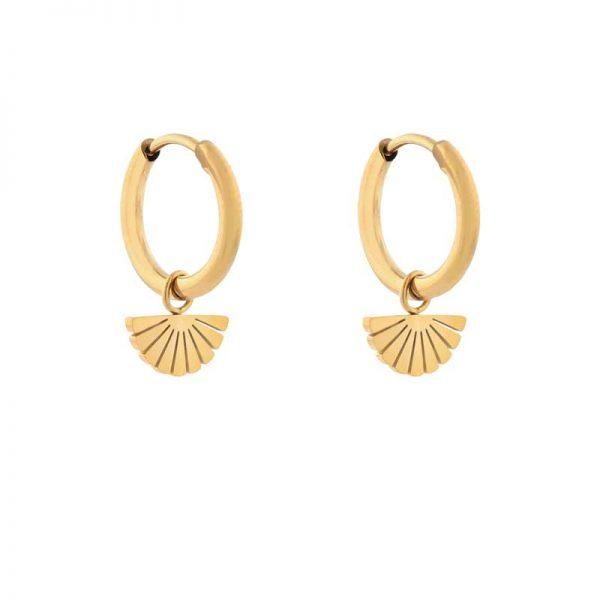 Earrings minimalistic fan gold