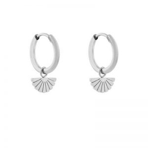 Earrings minimalistic fan silver