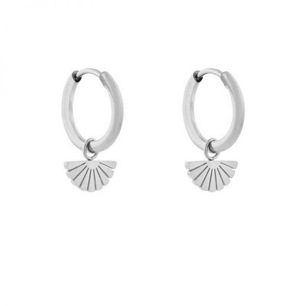Earrings minimalistic fan silver
