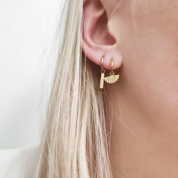 Earrings minimalistic fan
