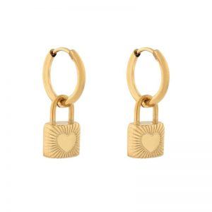 Earrings minimalistic lock gold