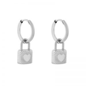 Earrings minimalistic lock silver