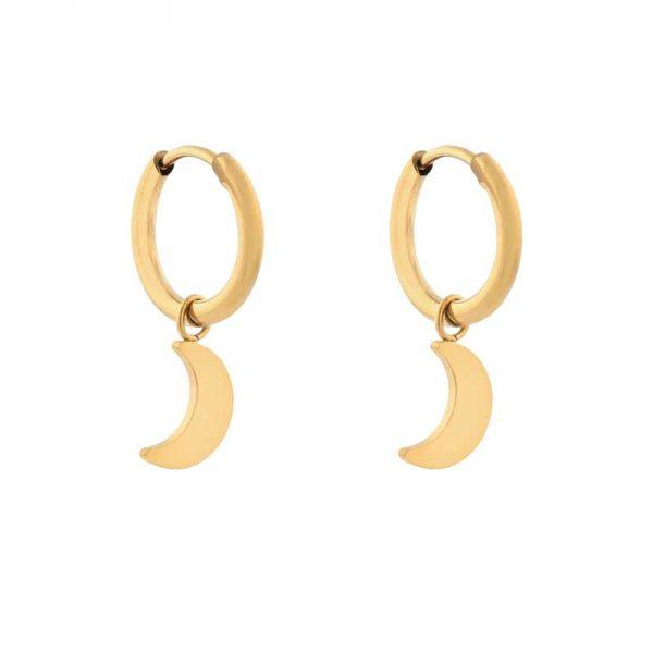 Earrings minimalistic moon large gold