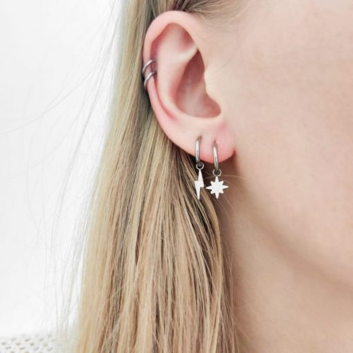 Earrings minimalistic northstar small