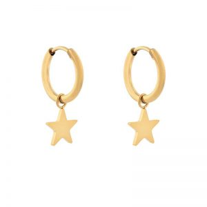 Earrings minimalistic star large gold