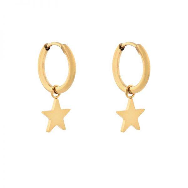 Earrings minimalistic star large gold