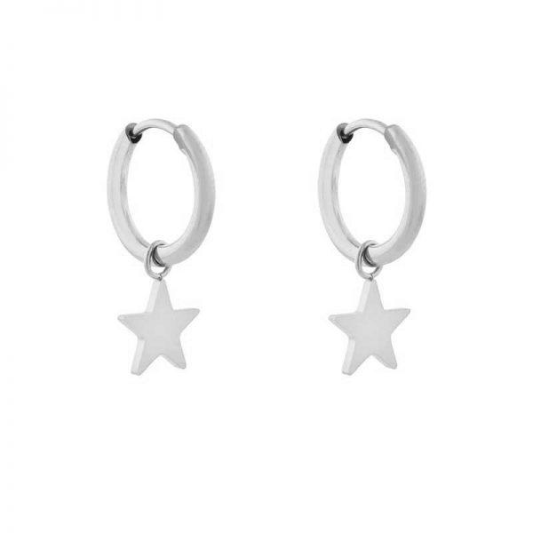 Earrings minimalistic star large silver