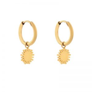 Earrings minimalistic sun gold