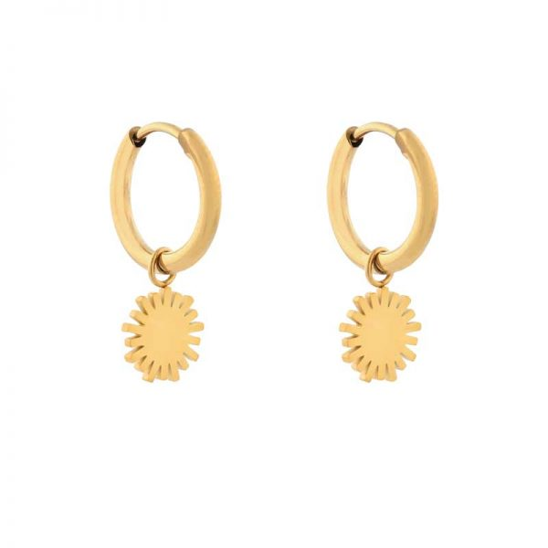 Earrings minimalistic sun gold