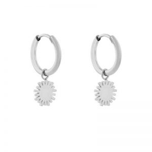 Earrings minimalistic sun silver