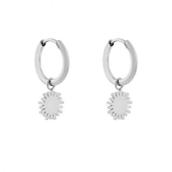 Earrings minimalistic sun silver