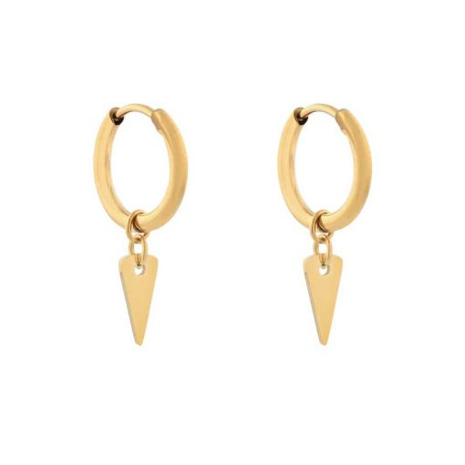 Earrings minimalistic triangle large gold