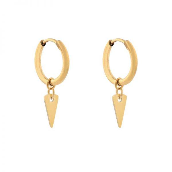 Earrings minimalistic triangle large gold