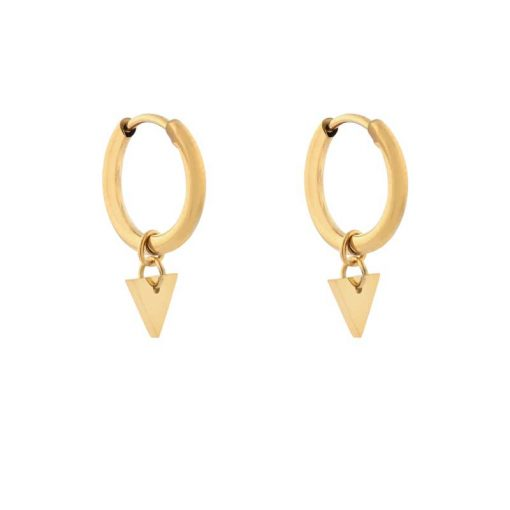 Earrings minimalistic triangle small gold