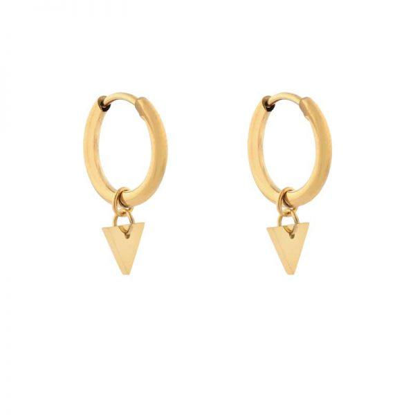 Earrings minimalistic triangle small gold