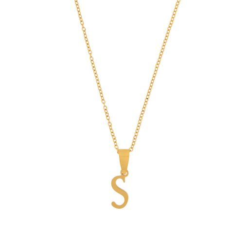 Necklace initial gold long