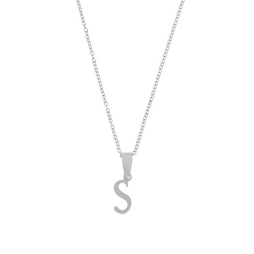 Necklace initial silver long