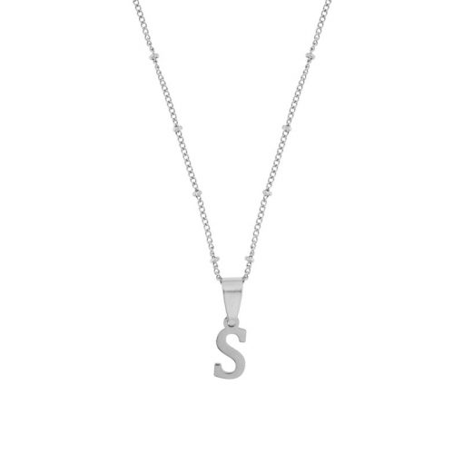 Necklace initial silver short