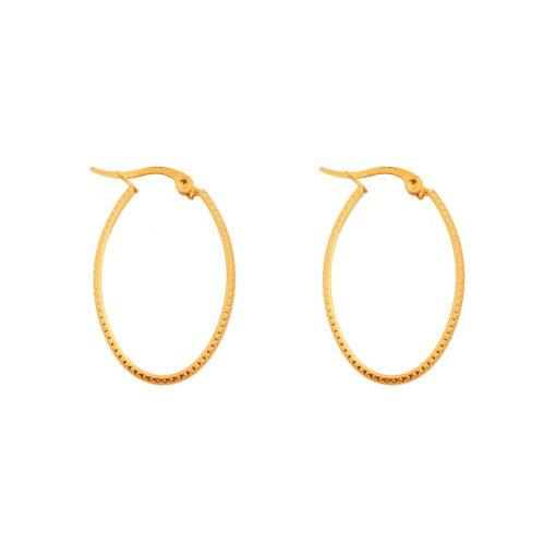 Earrings hoops oval basic small figure gold