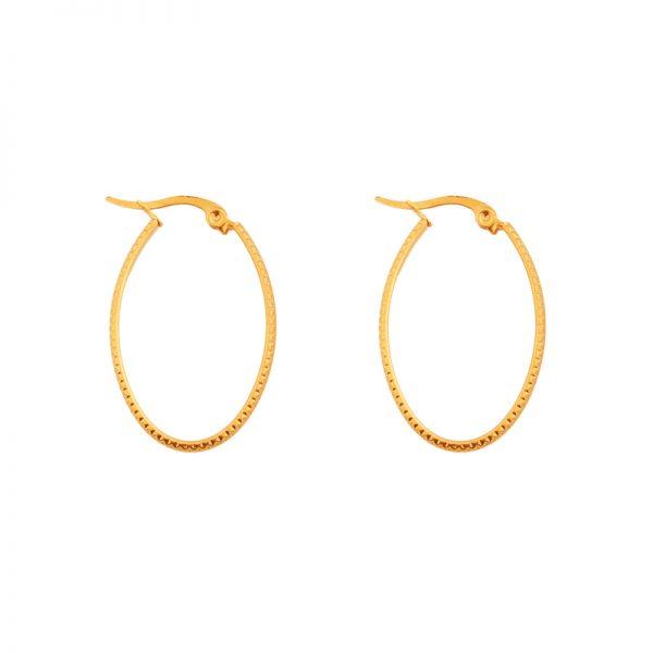 Earrings hoops oval basic small figure gold