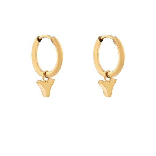 Earrings minimalistic animal teeth gold