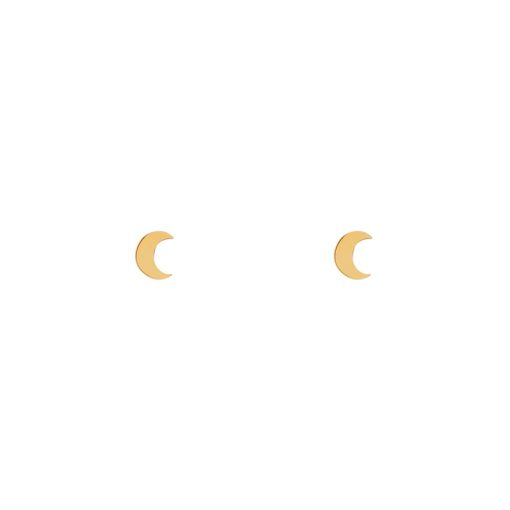 Stud earrings moon gold