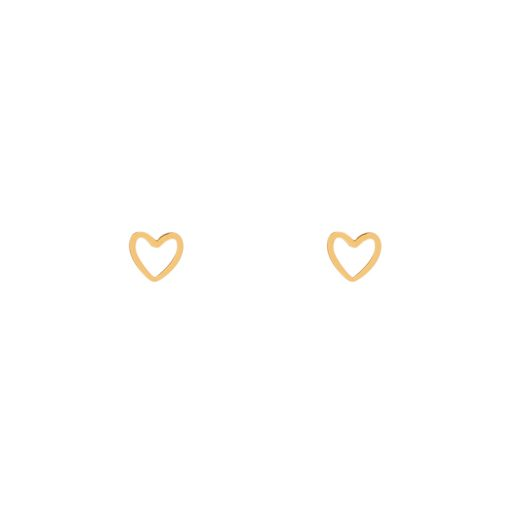 Stud earrings open heart gold