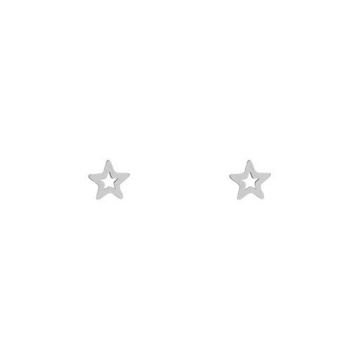 Stud earrings open star silver
