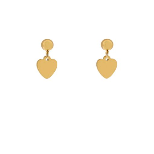 Stud earrings with heart gold